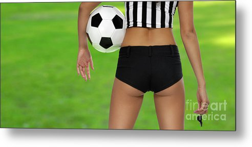 Soccer Metal Print featuring the photograph Sexy Referee by Maxim Images Prints