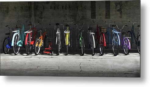 Bicycle Metal Print featuring the digital art Bike Rack by Cynthia Decker