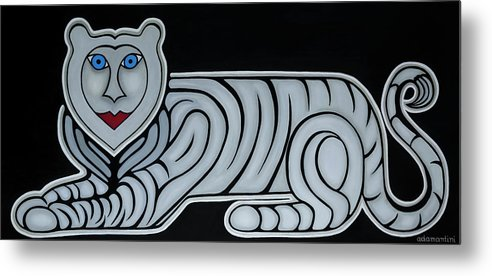 Celestial Metal Print featuring the painting Celestial big white tiger woman by Adamantini Feng shui