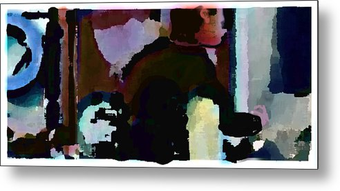 Abstract Expressionism Metal Print featuring the painting Lunch counter by Steve Karol
