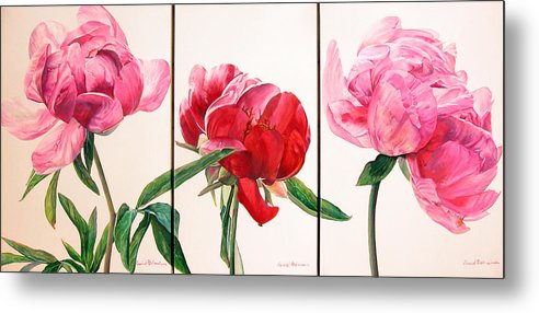 Floral Painting Metal Print featuring the painting Pivoines by Muriel Dolemieux