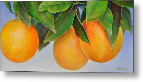 Floral Painting Metal Print featuring the painting Trois Oranges by Muriel Dolemieux