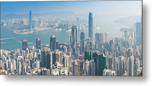 New Territories Metal Print featuring the photograph Hong Kong Iconic Skyscraper City by Fotovoyager