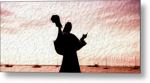 Colorful Metal Print featuring the digital art Jesus del Caracol or Jesus and the Seashell in La Paz, Mexico by Kenneth Montgomery