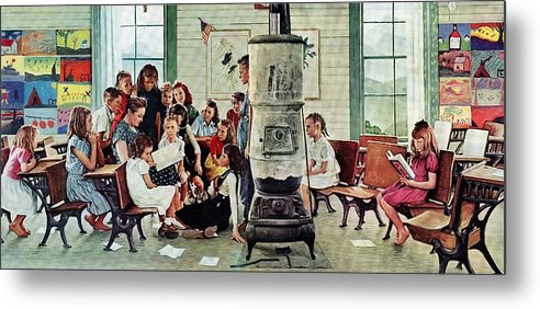 Book Metal Print featuring the drawing Norman Rockwell Visits A Country School by Norman Rockwell