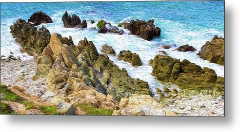 Mexico Metal Print featuring the digital art Ocean Rocks in Puerto Vallarta Mexico by Kenneth Montgomery