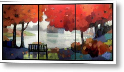 Landscape Metal Print featuring the painting Peaceful Fall by Farhan Abouassali