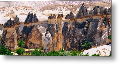 Landscape Metal Print featuring the photograph Fairy Chimney Panorama by Apurva Madia