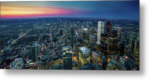 Downtown District Metal Print featuring the photograph Toronto Downtown City At Night by D3sign