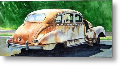Hudson Car Rust Restore Metal Print featuring the painting Hudson Waiting For a New Start by Ron Morrison