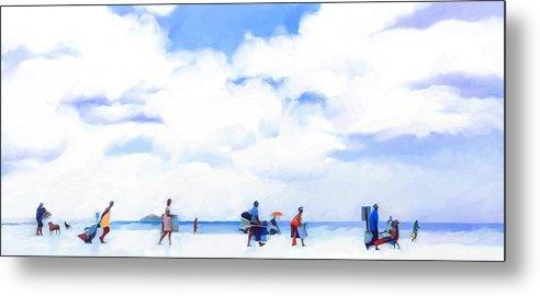 Landscape Beach Florida Metal Print featuring the digital art The Beachgoers by Scott Waters