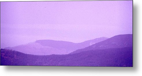 Abstract Metal Print featuring the digital art Purple Sky And Mountains 2 by Lyle Crump