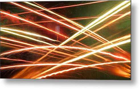 Fireworks #sparks #trails #independenceday #4thofjuly #colors #chinese #lantern Metal Print featuring the photograph Fireballs by M Urbanski