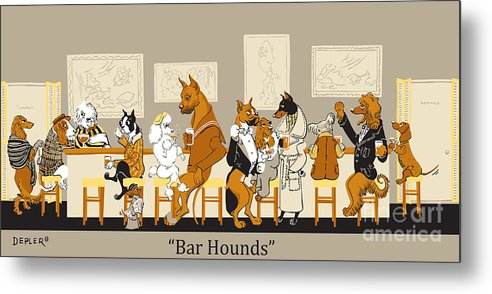 barhounds Metal Print featuring the mixed media Bar Hounds by Constance Depler