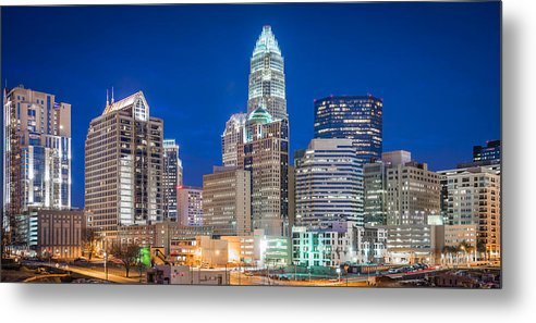 North Carolina Metal Print featuring the photograph Charlotte Skyline by Sky Noir Photography by Bill Dickinson