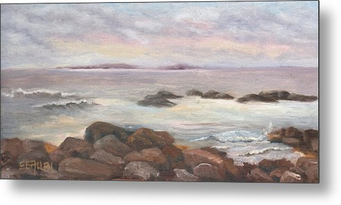 Isles Of Shoals Metal Print featuring the painting Isles of Shoals from Odiorne Point by Sharon E Allen