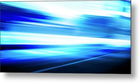 Empty Metal Print featuring the digital art Motion Blue Road by Aaron Foster