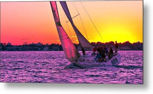 Sailing Boat Sailboat Sea Marina Water Sea Sunset Dusk Metal Print featuring the photograph Sails at Dusk by Arthur Sa