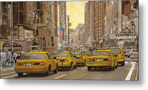 New York Metal Print featuring the painting yellow taxi in NYC by Guido Borelli