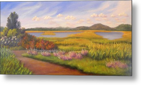 Marsh Metal Print featuring the painting Early Fall Plum Island by Sharon E Allen
