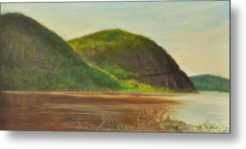 Landscape Metal Print featuring the painting Hudson at Storm King by Phyllis Tarlow