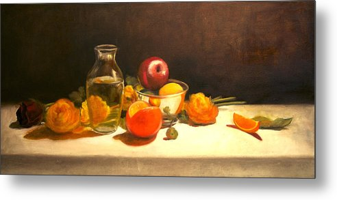 Orange Metal Print featuring the painting Silver and Glass by Jayne Howard