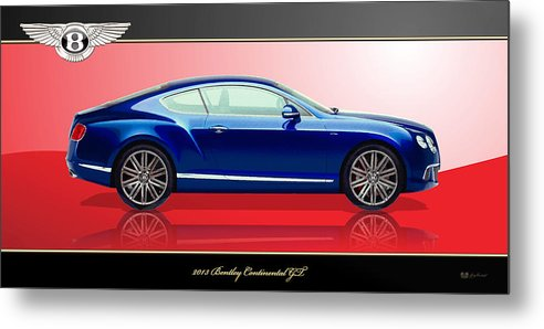 Wheels Of Fortune By Serge Averbukh Metal Print featuring the photograph Bentley Continental GT with 3D Badge by Serge Averbukh