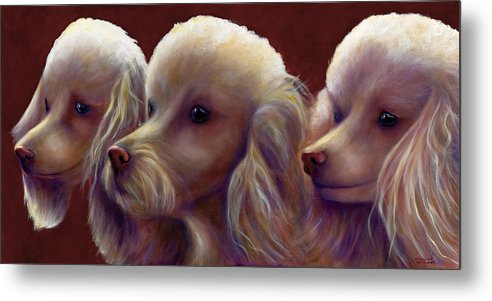 Dogs Metal Print featuring the painting Molly Charlie and Abby by Shannon Grissom
