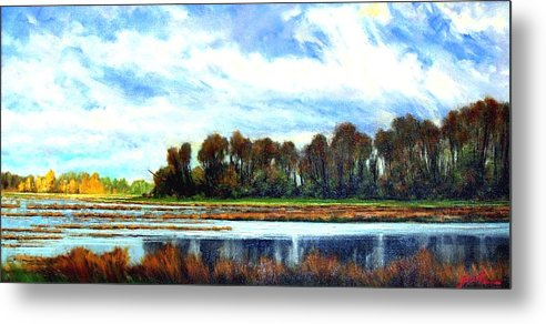 Landscapes Metal Print featuring the painting Ridgefield Refuge Early Fall by Jim Gola