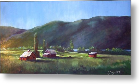 Meadow Metal Print featuring the painting Sunlit Meadow by Ruth Stromswold