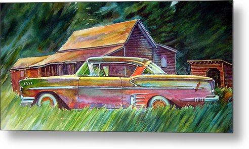 Rusty Car Chev Impala Metal Print featuring the painting This Impala Doesn by Ron Morrison