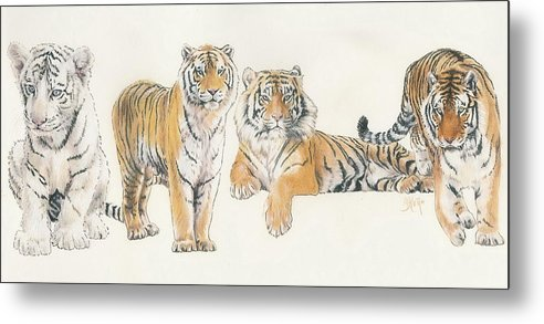 Tiger Metal Print featuring the mixed media Tiger Wrap by Barbara Keith