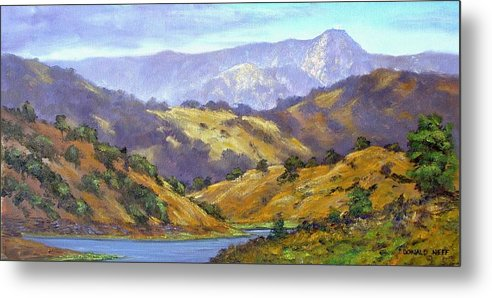 Mt Umunhum Metal Print featuring the painting Umunhum View 12x24 Oil by Donald Neff