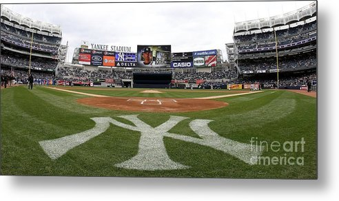 American League Baseball Metal Print featuring the photograph Chicago Cubs V New York Yankees by Nick Laham