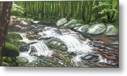 Oil Painting Metal Print featuring the painting Asheville Mountain Stream by Billie Mann
