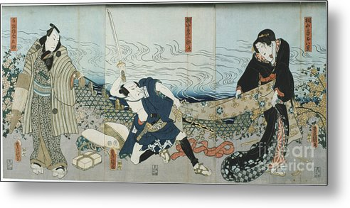 Material Metal Print featuring the drawing Theatre Scene, 1844. Artist Utagawa by Print Collector