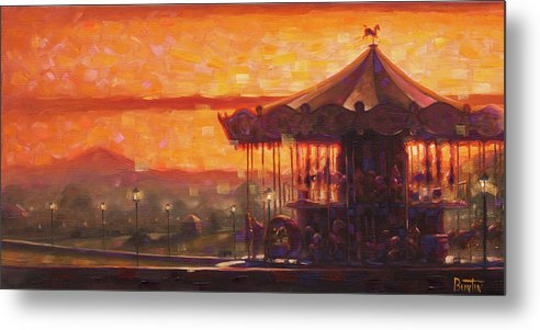 Travelart Metal Print featuring the painting Carousel of Honfleur by Rob Buntin