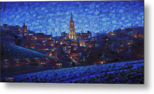 Robbuntin Art Metal Print featuring the painting St. Emilion art at night by Rob Buntin
