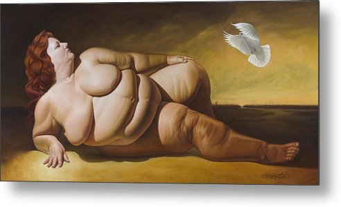 Reclining Nude With Dove Metal Print featuring the painting Enlightenment by Gary Hernandez