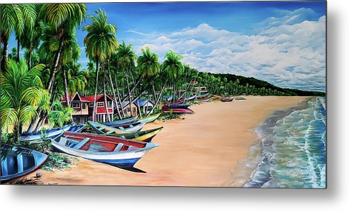 Mayaro Beach Metal Print featuring the painting Mayaro Fishing Village by Karin Dawn Kelshall- Best