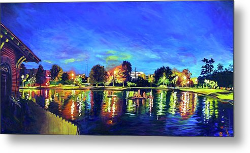 Night Metal Print featuring the painting Night Lights by Bonnie Lambert
