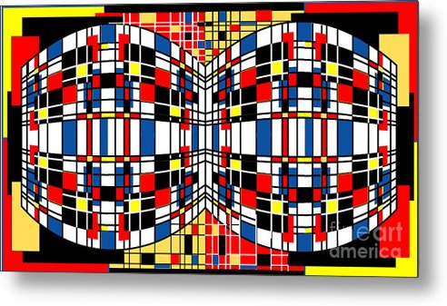 Abstract Metal Print featuring the digital art 3D Squares by George Pasini
