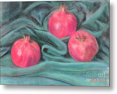 3 Pomegranates Metal Print featuring the painting Pomegeranates by Ziba Bastani