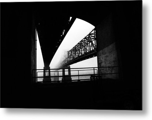 Black/white Photograph Metal Print featuring the photograph Twin Bridges by Leon Hollins III