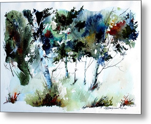Abtract Forest Trees Metal Print featuring the painting How Green Was MY Valley by Wilfred McOstrich