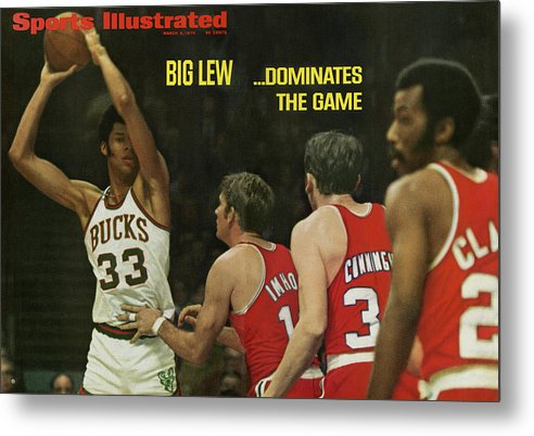 Magazine Cover Metal Print featuring the photograph Big Lew . . . Dominates The Game Sports Illustrated Cover by Sports Illustrated