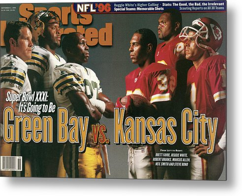 Green Bay Metal Print featuring the photograph Green Bay Packers And Kansas City Chiefs, 1996 Nfl Football Sports Illustrated Cover by Sports Illustrated
