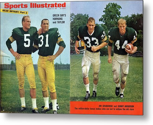 Magazine Cover Metal Print featuring the photograph Green Bays Hornung And Taylor Sports Illustrated Cover by Sports Illustrated