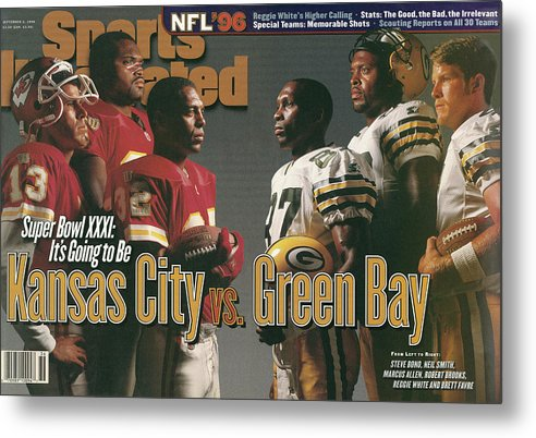 Brett Favre Metal Print featuring the photograph Kansas City Chiefs Vs Green Bay Packers, 1996 Nfl Football Sports Illustrated Cover by Sports Illustrated