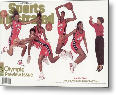 The Olympic Games Metal Print featuring the photograph Usa Womens Basketball Team, 1996 Atlanta Olympic Games Sports Illustrated Cover by Sports Illustrated